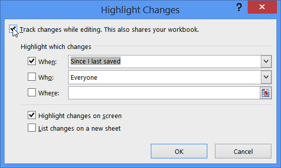 highlight changes dialog