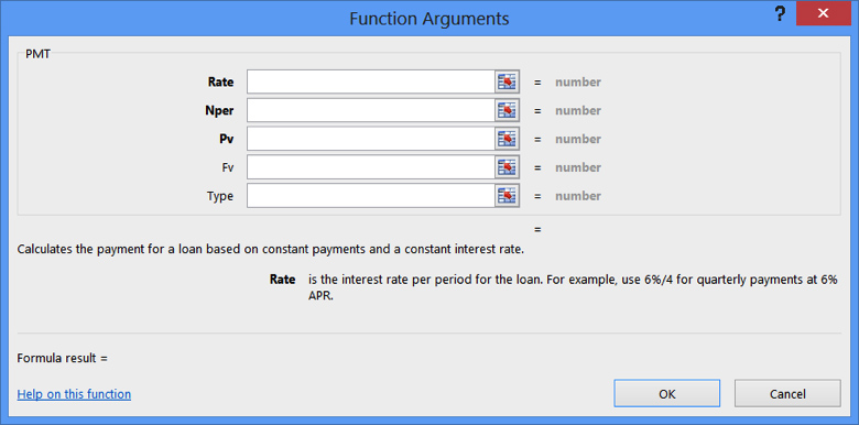 Open Function Argument PMT Dialog