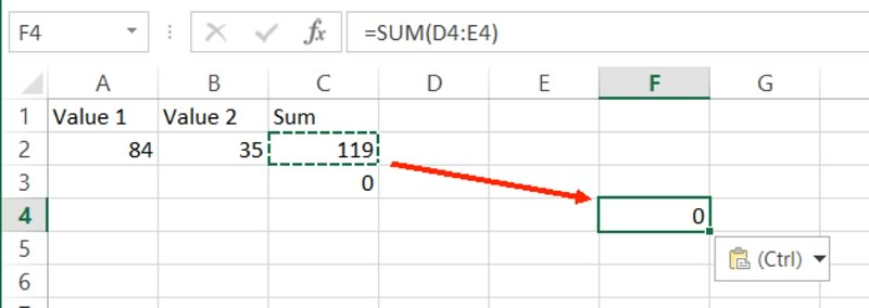 Pasting a formula with an relative reference