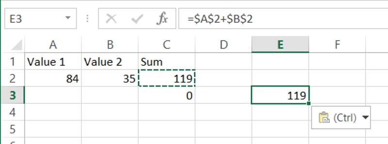 Pasting a formula with an absolute reference