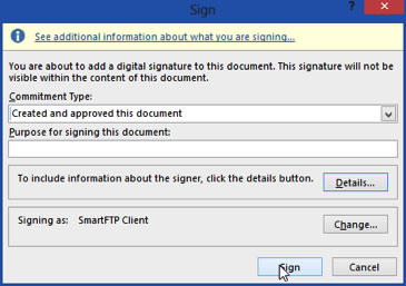 Add Digital Signature Dialogue Box