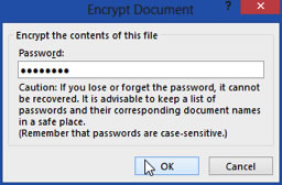 Encrypt Document Dialogue box