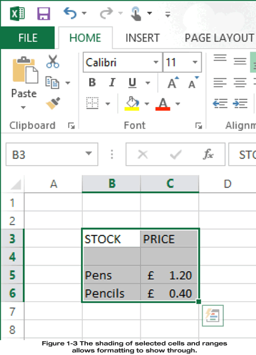 Cell format shows through selected cells and ranges
