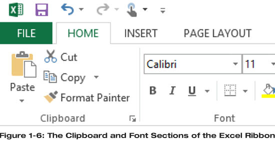 Clipboard and Font section on Home tab of Excel Ribbon