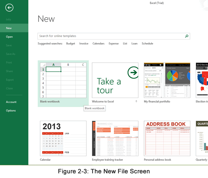 The New Excel File Screen