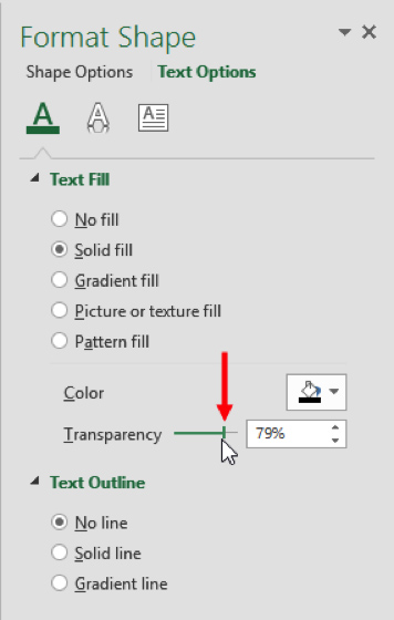 adjust Transparency slider on format shape pane