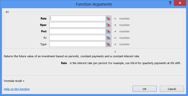 Open Function Argument Dialog