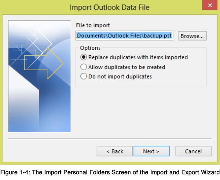 Import MS Outlook Data File