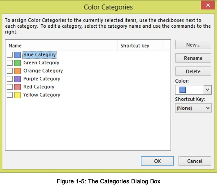 The Categories Dialog Box