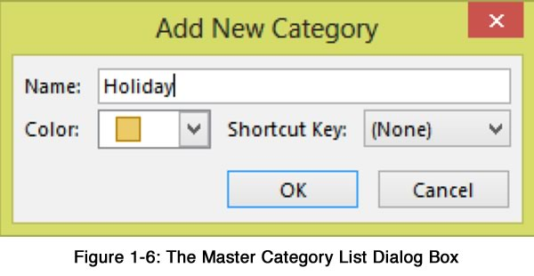 The Master Category List Dialog Box