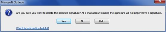 Delete signature warning message