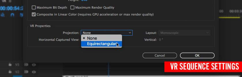 VR Sequence settings