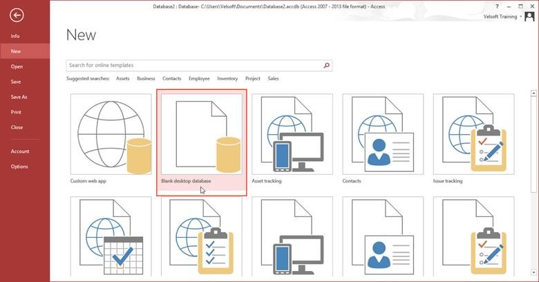 Blank desktop database