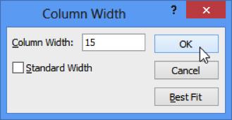 Column Width Dialog Display