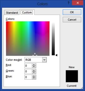 custom colors dialog box