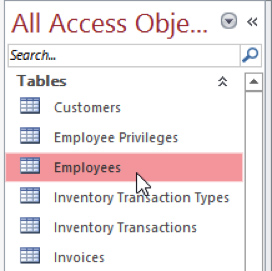 Open Object from Navigation Pane