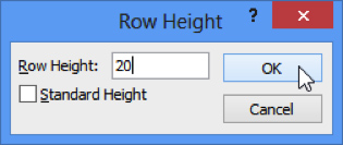 Row Height Dialog Box