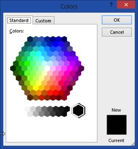 standard colors dialogue box