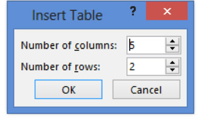 Insert Table Dialog