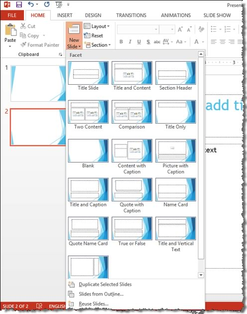 New Slide Tool - Microsoft PowerPoint