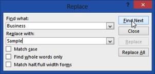 Replacement dialogue box