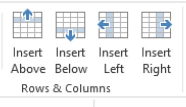 PowerPoint 2013 Insert Rows & Columns Group
