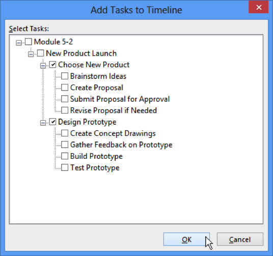 add tasks to timeline checkbox
