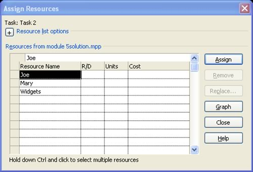 Assign Resources Dialog Box