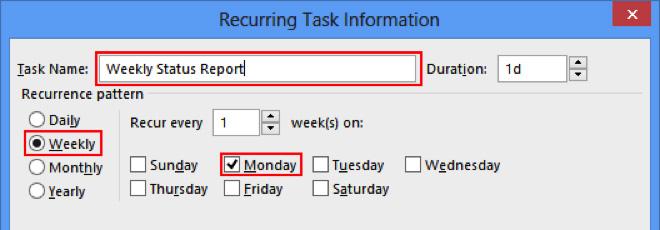 basic information recurring task dialog