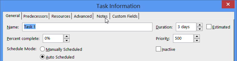 click tab note on task info dialog
