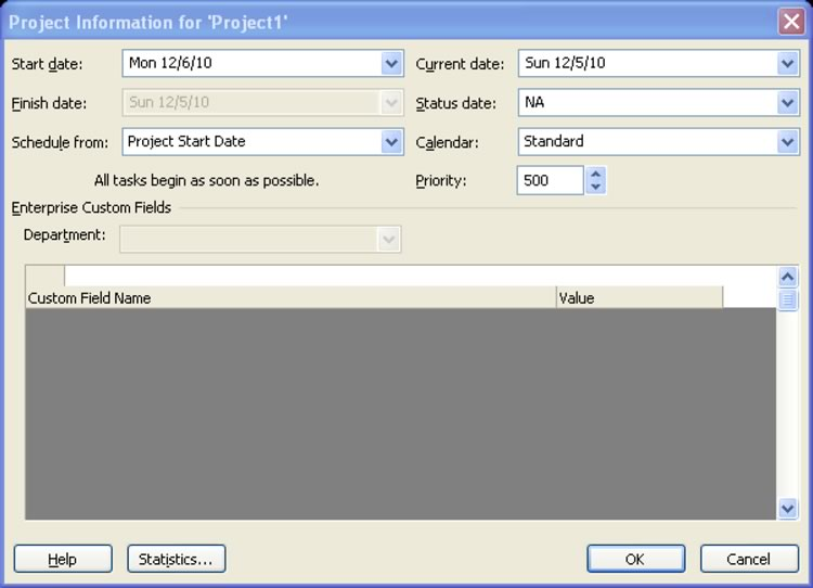 Project Information Dialogue Box