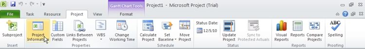 Select Project Tab and then Project Information Icon