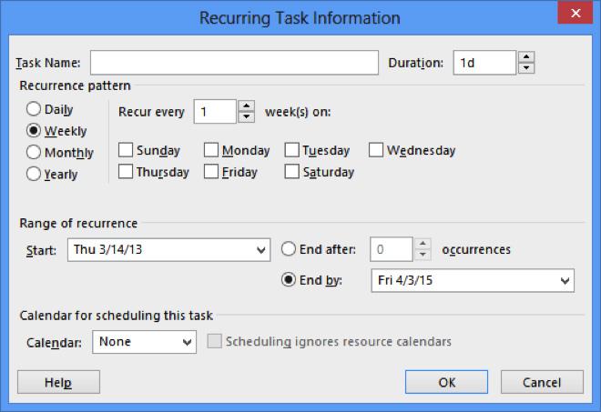 recurring task information dialog box