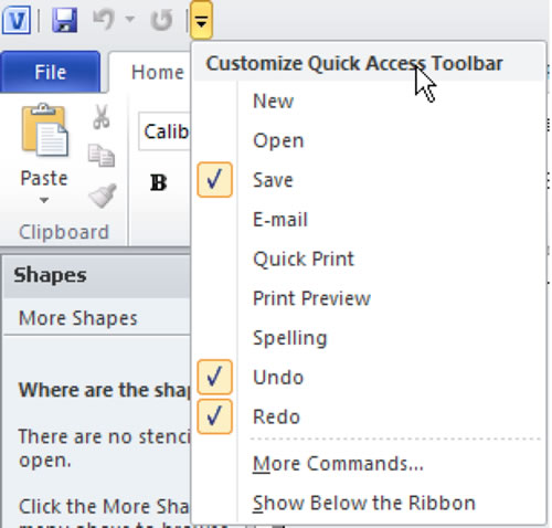 Visio Quick Access Toolbar