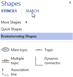 Use Search Tab in Shapes Pane