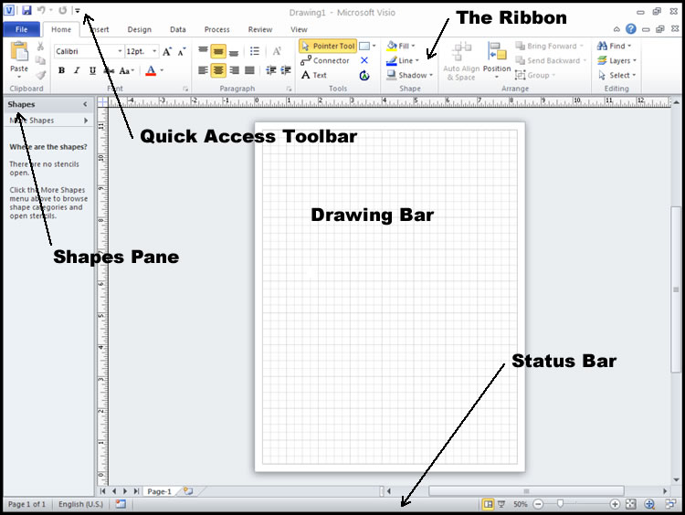 ms visio screen interface