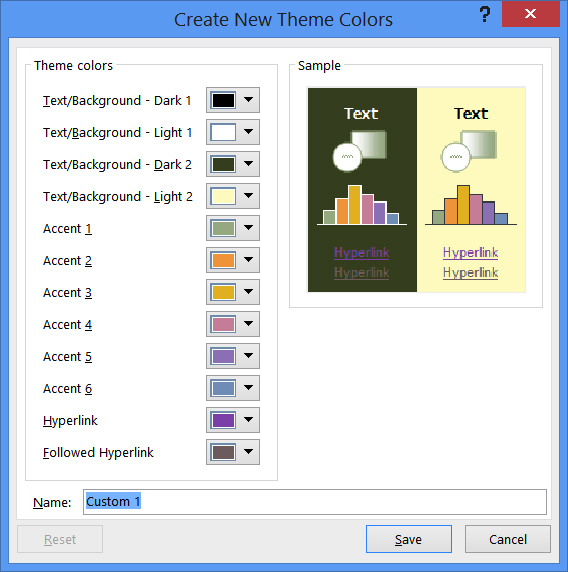 new theme color dialog box