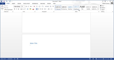 adding a heading 2 in Word