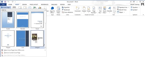 insert cover page in Word