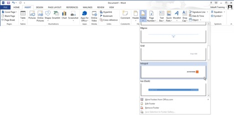 adding a footer in Word