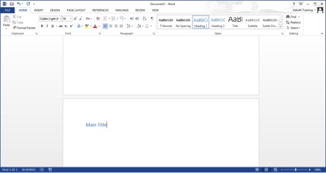 adding a main title in Word