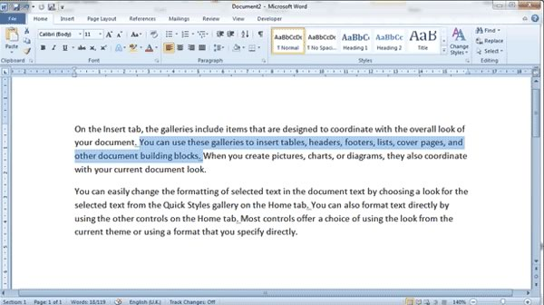 Selecting Text in Word
